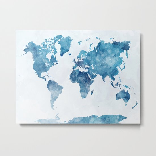 World map in watercolor. Metal Print