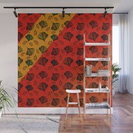 Ginkgo Pattern on Stripe Gradient Wall Mural