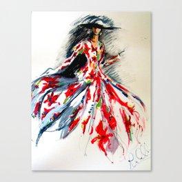50ties Garden Dress Canvas Print