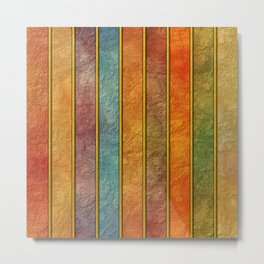 Colorful Texturised Stripes Metal Print