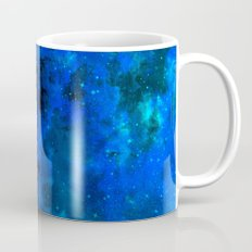 SECOND STAR TO THE RIGHT Rich Indigo Navy Blue Starry Night Sky Galaxy Clouds Fantasy Abstract Art Mug