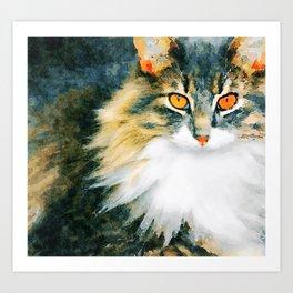 Cat with Orange Eyes Art Print