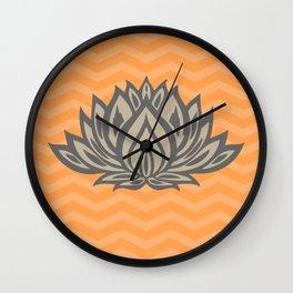 Lotus Meditation Orange Throw Pillow Wall Clock