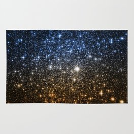Galaxy Sparkle Stars Blue to Golden Bronze Ombre Rug