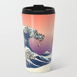 The Great Wave of Pug Metal Travel Mug