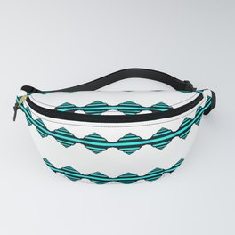 Turquoise geo stripes Fanny Pack