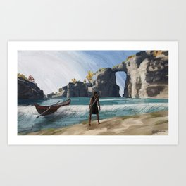 Greek beach Art Print