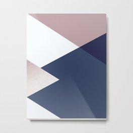 Geometrics - blush indigo rose gold Metal Print
