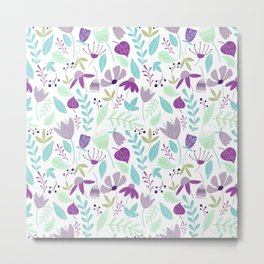 Flowers Make Me Happy Pattern Metal Print