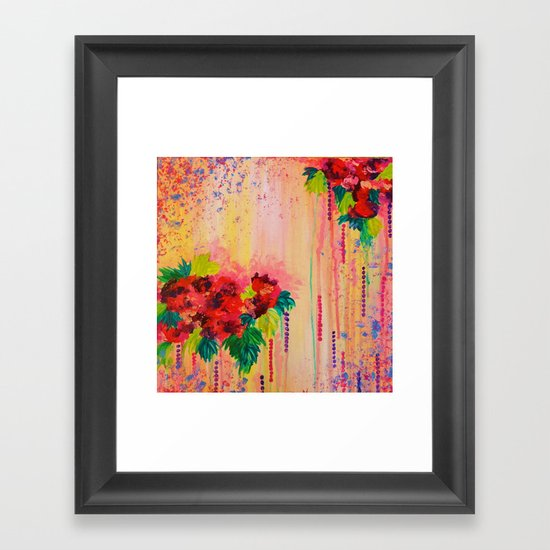 STRAWBERRY CONFETTI PAINTING Abstract Acrylic Floral Beautiful Feminine Flower Bouquet Girlie Pink Framed Art Print