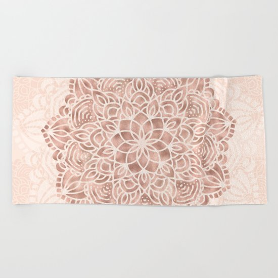 Mandala Seashell Rose Gold Coral Pink Beach Towel