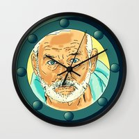 steve zissou Wall Clocks featuring Bill Murray Porthole - Steve Zissou by AdrienneD