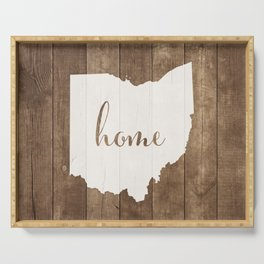 Ohio is Home - White on Wood Serving Tray