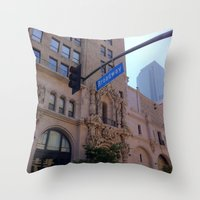broadway Throw Pillows featuring Off Broadway by Jacqueline Obispo