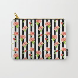 Peonies on stripes - Modern. Floral Carry-All Pouch