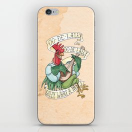 Alan-A-Dale Rooster : OO-De-Lally Golly What A Day Tattoo Watercolor Painting iPhone Skin