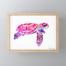 Purple Turtle Bright Pink, purple blue turtle illustration, children room decor Framed Mini Art Print
