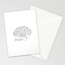 Brain one line drawing Stationery Cards