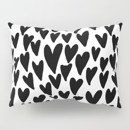 hearts love valentines day minimal black and white pattern gifts Pillow Sham