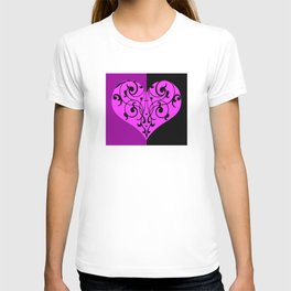 Gothic Victorian Black and Purple Heart T-shirt