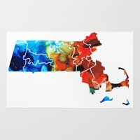 patriots Area & Throw Rugs featuring Massachusetts - Map Counties By Sharon Cummings by Sharon Cummings
