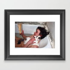 Cat in bathroom Framed Art Print