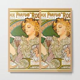 "Alphonse Mucha ""Lance parfum Rodo"" Metal Print"