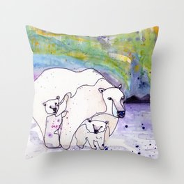 Polar Bear Mommy Throw Pillow