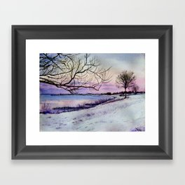 Winter evening in Racine Framed Art Print