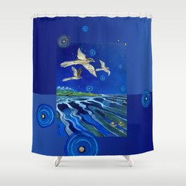 Long-Tailed Cuckoo & The Explorers Shower Curtain