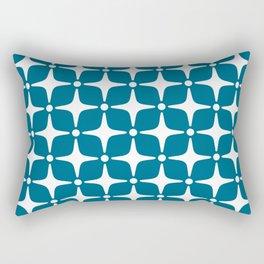 Mid Century Modern Star Pattern Peacock Blue 2 Rectangular Pillow