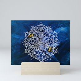 Bee Dance Mandala A - Textured Indigo Mini Art Print