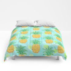 Pineapples and Polka Dots (pattern) Comforters