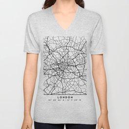 LONDON ENGLAND BLACK CITY STREET MAP ART Unisex V-Neck
