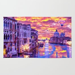 Colorful Abstract Painting of Venice Rug