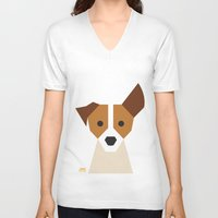 jack russell V-neck T-shirts featuring Jack Russell by Page 84 Design