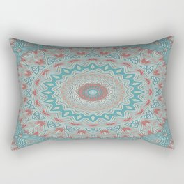 Tribal Medallion Teal Rectangular Pillow