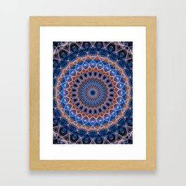 Pretty mandala in blue and orange Framed Art Print