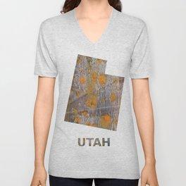 Utah map outline Yellow brown spots watercolor Unisex V-Neck