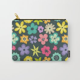 Artistic hand painted teal yellow violet floral illustration Carry-All Pouch