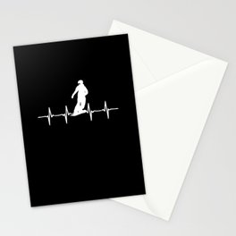Snowboard Heartbeat Mountains Gift Snowboarder Stationery Cards
