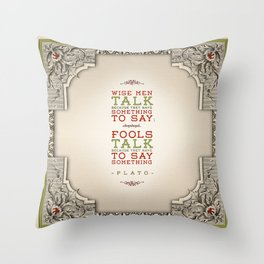 Plato regarding talking Throw Pillow
