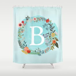 Personalized Monogram Initial Letter B Blue Watercolor Flower Wreath Artwork Shower Curtain