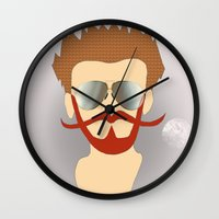 the dude Wall Clocks featuring Dude by DM Davis