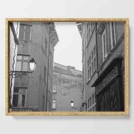 Lanterns, facades and the dying daylight | Black and White France Photography Serving Tray