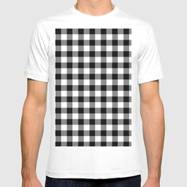 90's Buffalo Check Plaid in Black and White T-shirt