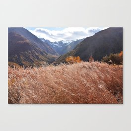 Gold autumn landscape in mountain Canvas Print