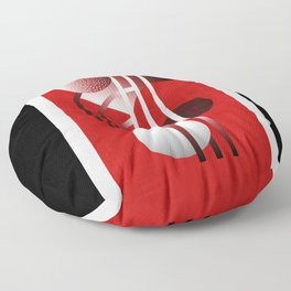 Mid Century Modern Abstract // Red, Black and White // Watercolor Texture Floor Pillow