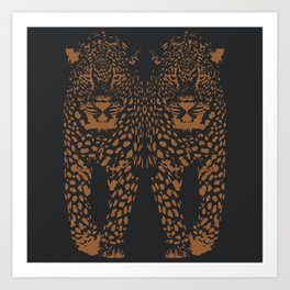Midnight Leopard - Navy and Orange Leopard print By Kristen Baker Art Print