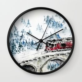 Winter Travel Wall Clock